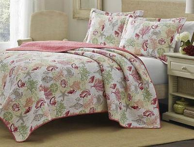 3 Piece Laura Ashley SURF SPRAY Full/Queen Size Quilt Set Brand New CORAL