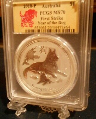 2018-P PCGS  MS 70 .999 fine Silver Bullion Coin  Year of the Dog  First Strike