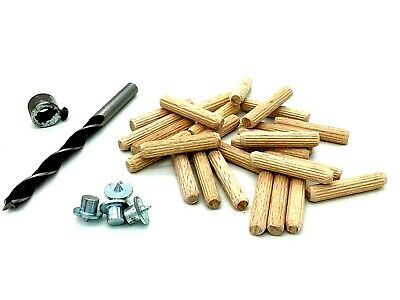 Dowel kit 25 x hardwood wooden chamfered fluted 6mm dowels drill & points (500)
