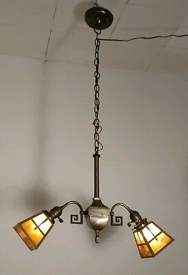 Antique Arts & Craft Mission Hanging Slag Glass Lamp Chandelier