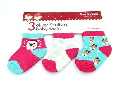 Oliver & Olivia Baby Boutique Set Of 3 Baby Boys Christmas Socks Age 0-6 Months