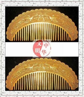 TangKingdom LadyDressing GOLD PHOENIX STATUE LuckyBat FLOWER SILVER 28TOOTH COMB