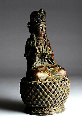 Alter Buddha Guan Yin China antik MING Stil 28 cm Gold P44A