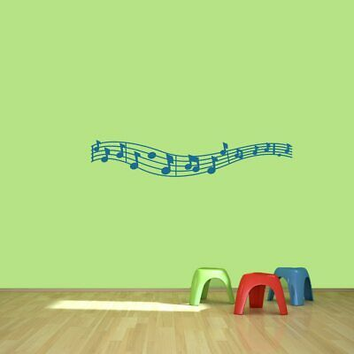 Music Staff and Notes Wall Decal - Music, Instrument, Kids, Classroom, Sticker