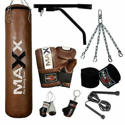 New 4ft Filled Heavy Punch Bag Chain Bracket Punchbag kick boxing set gloves pad