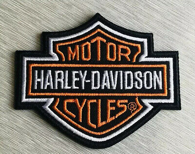 Harley Davidson Classic Orange Logo Sew-on Patch (Small) - Made in USA Vest