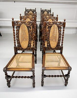 A Set Of 8 Carved Walnut Barley Twist Chairs, Two Carvers, 6 Singles