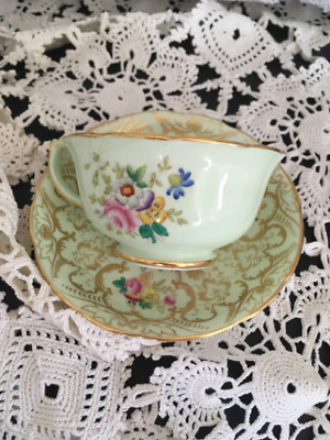 Vintage Hammersley Mint Green and Gold Floral Tea Cup and Saucer