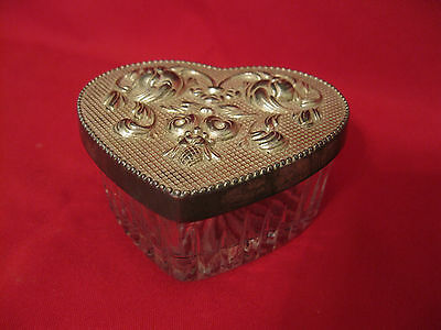 Crystal Heart Box w/Silver Plated Lid