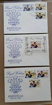 Anguilla 1981 Royal Wedding Diana FDC's incl. M/S & September colour change