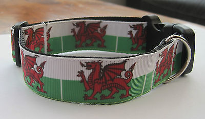 welsh dragon flag dog collar lead wales red green football rugby