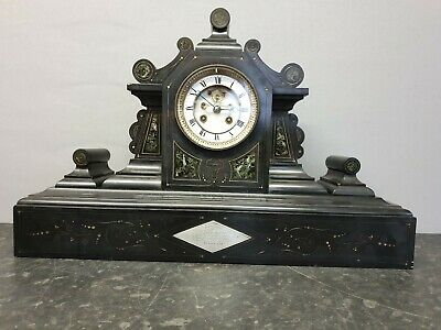 Antique Slate 8 Day Table Clock with Visible Brocot Escapement & Bell Strike