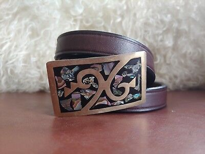 Vintage Kids Childrens Boys Girls Genuine Leather Belt w Abalone Mexico Buckle S