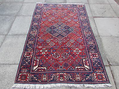 Fine Antique Traditional Persian Rug Wool Red Oriental Hand Made Rug 202x128cm