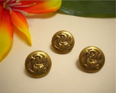 3 Antique Vintage Brass Japanese Koi Fish Metal Picture Buttons