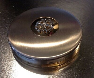 VINTAGE ~ AVON ~ Gold-Silver Tone Metal ~ Compact ~ With PRESSED POWDER ~ Face