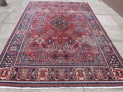Antique Shabby Chic Hand Made Persian Oriental Red Wool Rug Carpet 312x205cm