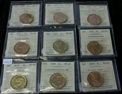Canada Loonie Dollar 1989 1992 2006 2008 2009 2011 2012 2014 lot of 9 certified