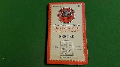 Sheet 176 Exeter Cloth OS Map One Inch Ordnance Survey 1940s lot2