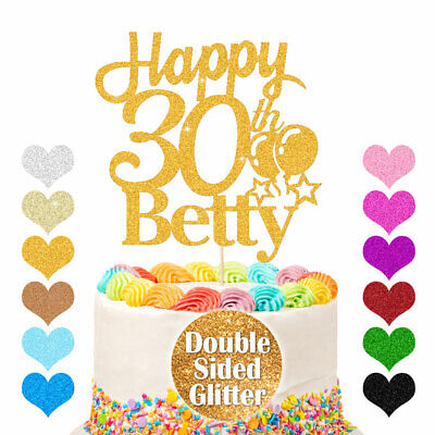 Personalised Happy Birthday Cake Topper Any Age Any Name 16 18th 21st 30th 50th