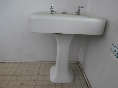 vintage/antique pedestal sink cast iron with facuets