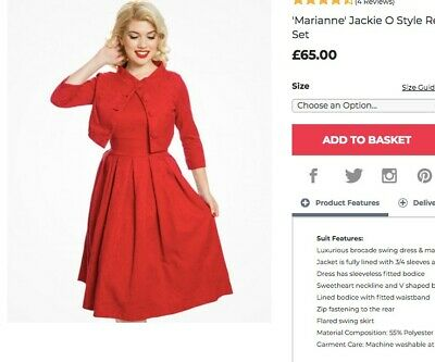 5e002c9c6eb0 LINDY BOP 'MARIANNE' red swing dress co-ord, size 16, new in ...