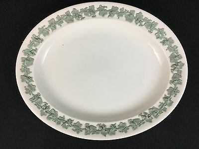 "Wedgwood Queensware Celadon Green on Cream ONE 14 1/2"" Oval Platter Smooth Edge"