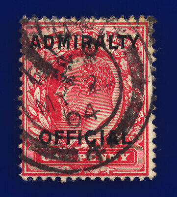 1903 SGo108 1d Scarlet Admiralty Official Mo37 Portsmouth CDS MY 2 04 c.£28 chcf