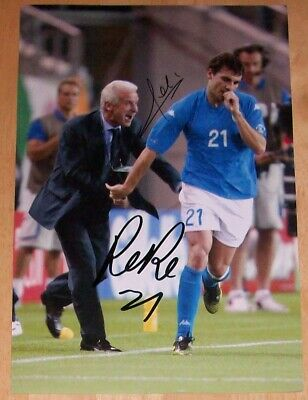 Giovanni Trapattoni & Christian Vieri Itlay Hand Signed Autograph 12X8 Photo