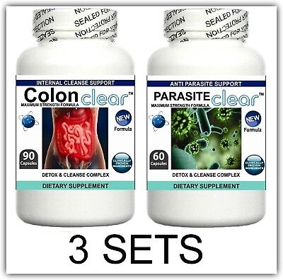 3 Set Parasite Cleanser Pill Detox Colon Liver Cleanse Flush Clean Gut Digestion