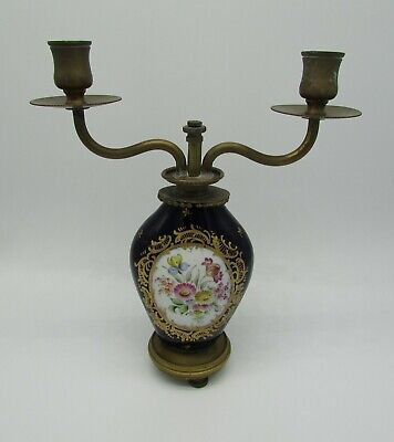 ancien bougeoir 2 bras laiton et porcelaine old candlestick 2 arms brass