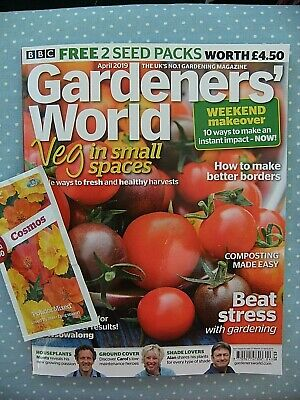 Gardener's World Magazine. April  2019. Spring. Vegetables. Free Cosmos Seeds