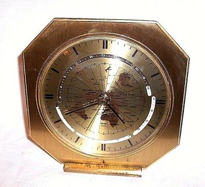 Vintage Brass Kundo Quartz World Time Clock Time Zone Mantle Clock West Germany