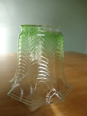 Vintage Antique Fluted Green Glass Light Lamp Shade