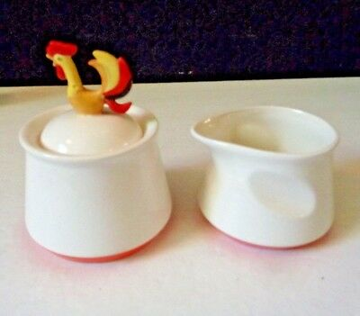 1960'S Vintage Holt Howard Rooster Sugar Bowl & Creamer Read Condition