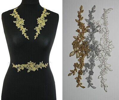 1 Piece  Corded Lace Applique Wedding Motif Sew On Metallic Gold , Silver :#30