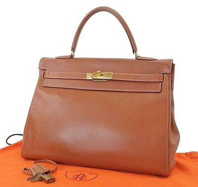 Authentic HERMES Kelly 35 Brown Calfskin Leather Handbag Purse #25262