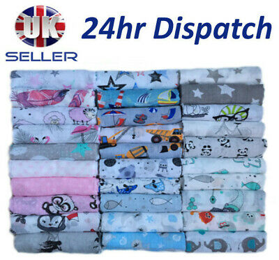 COTTON Large Printed Muslin Squares 80x70cm Baby Cloth Reusable Nappy Bibs Wipes
