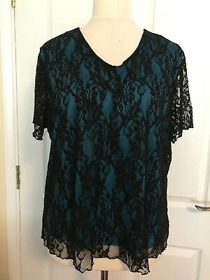 Charlotte Gold Size 22 Stunning Black Lace Top Turquoise underneath. Quality