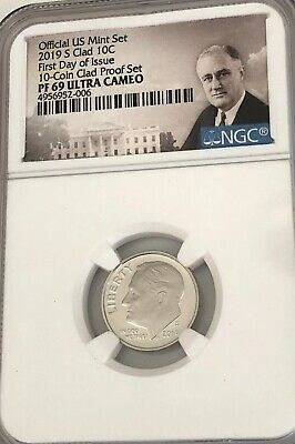 """2019- S Roosevelt Dime- Portrait """"first Day Of Issue"""" Ngc Pf-69 Uc See Others"""