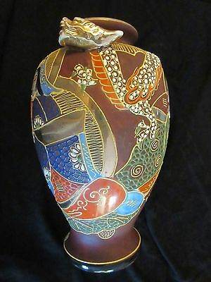 Vintage Japanese Satsuma Moriage Three Immortals Vase & Stand, Signed