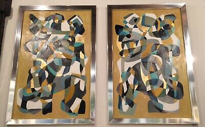 Pair Of Large Original Abstract Modern Paintings Chrome Frames Mid Century MCM
