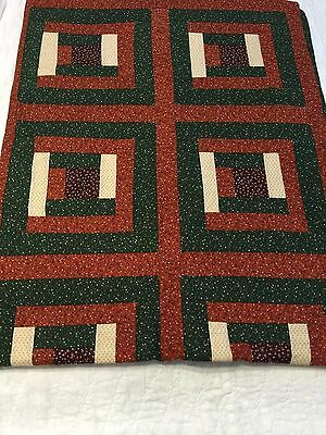 """Beautiful Hand Made Rustic Log Cabin Reversible Quilt 64"""" By 80"""" Hand Tied"""