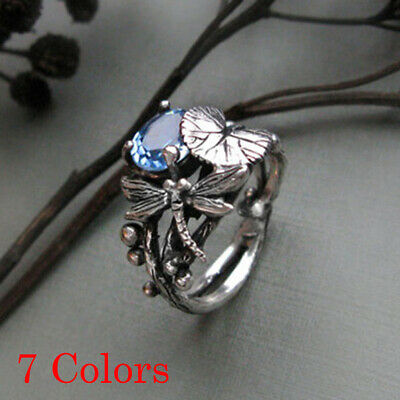 Aquamarine Oval Gem  Antique Silver Sterling Silver Rings  Lotus Leaf Dragonfly