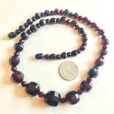 Art Deco Cherry Amber Necklace Unusual Faceted Beads Necklace