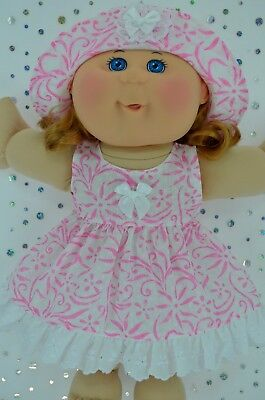 """Play n Wear Doll Clothes For 14"""" Cabbage Patch WHITE/PINK FLOWER DRESS~HAT"""