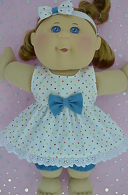 """Play n Wear Doll Clothes For 14"""" Cabbage Patch POLKA DOT DRESS~BLOOMERS~HEADBAND"""