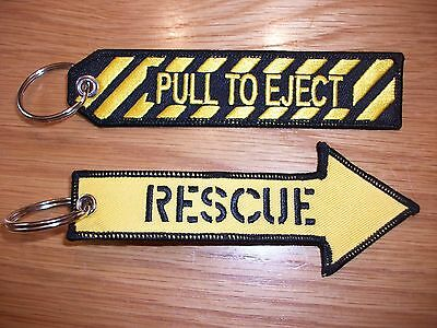 RAF / Pull To Eject & Rescue Embroidered Key Rings . Free P+P UK SELLER...