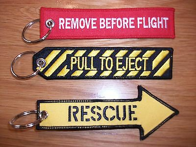 RAF Pull To Eject  Remove Before Flight & Rescue Key Rings x3. UK SELLER...