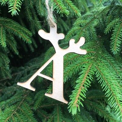 MDF 8cms Chritmas Decorations Bunting Gift Tags 10 x Alphabet Letters
